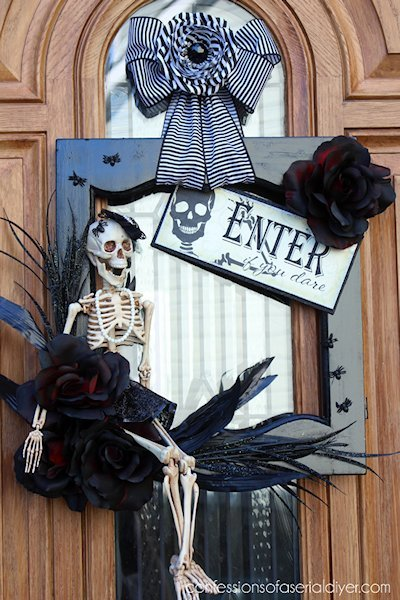 recycled cabinet door halloween door decor