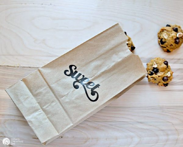 Brown paper bag with cookies