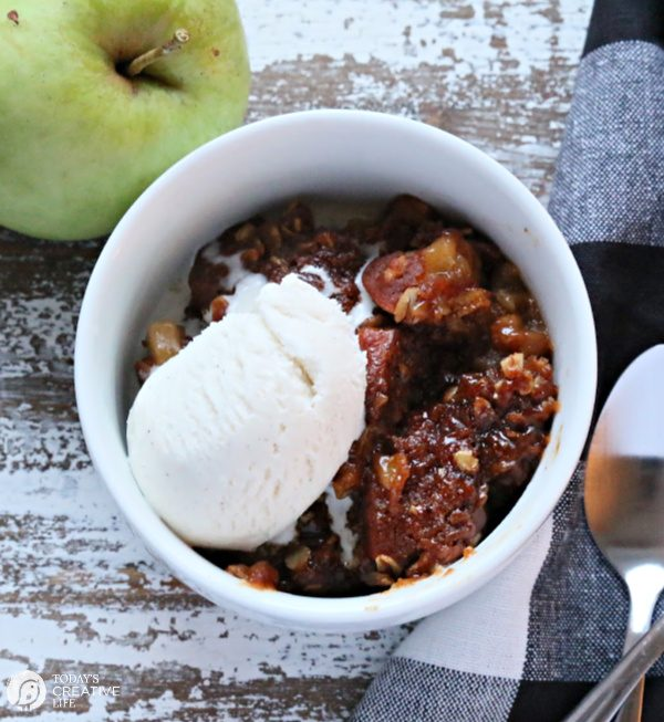Bowl of Apple Crisp with Vanilla Ice Cream