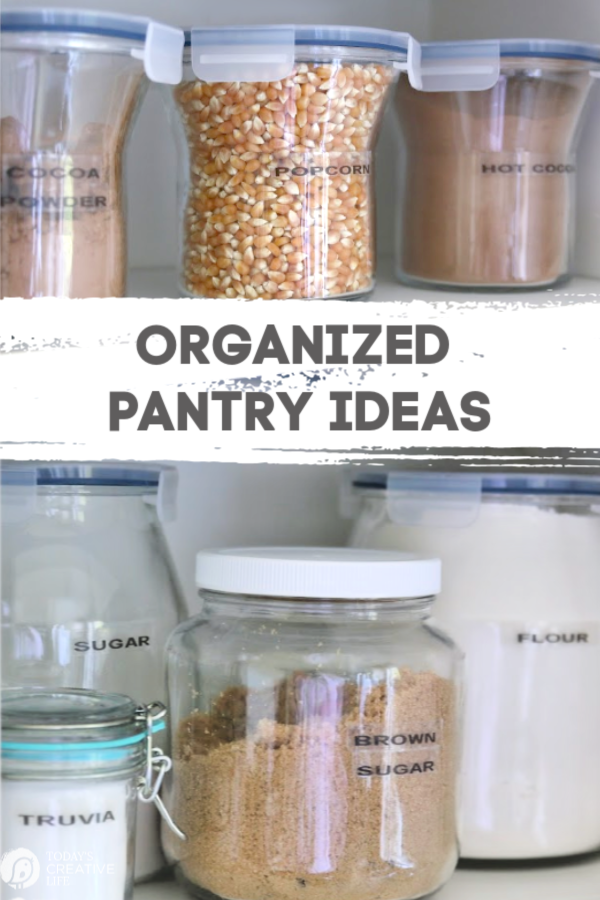 organized pantry with food storage containers