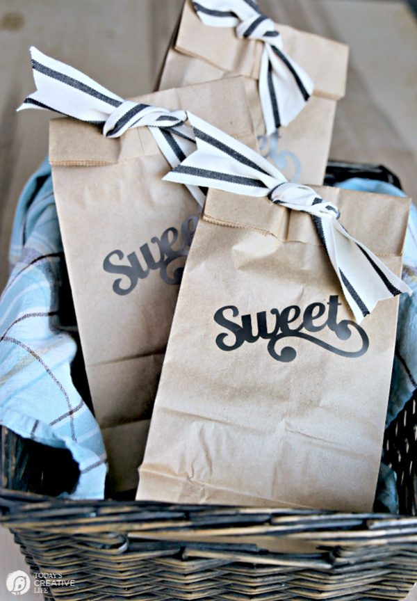 Paper gift bags in a basket