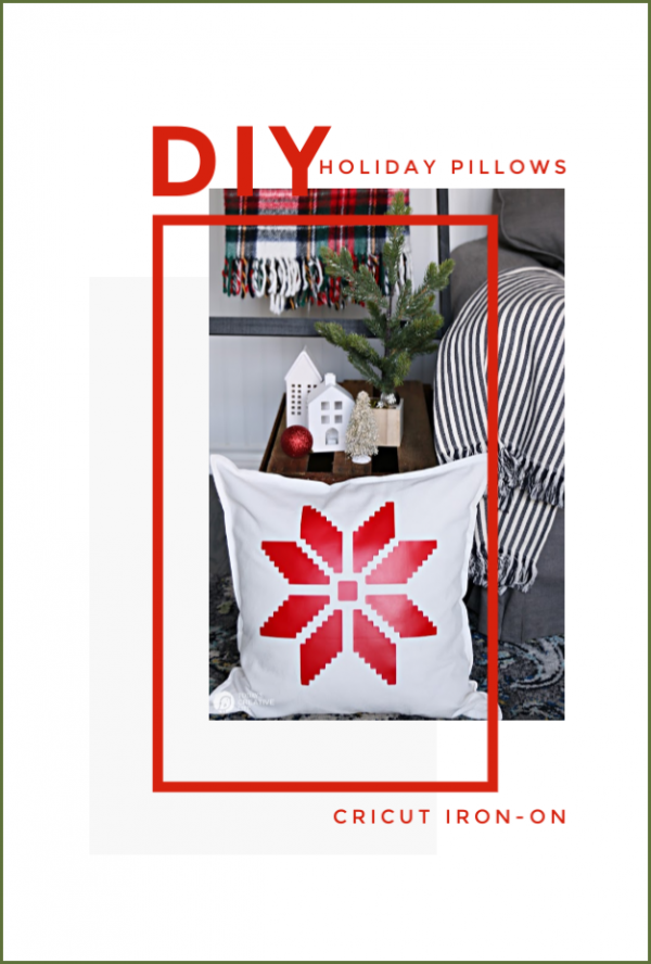 Photo collage with white and red snowflake pillow.