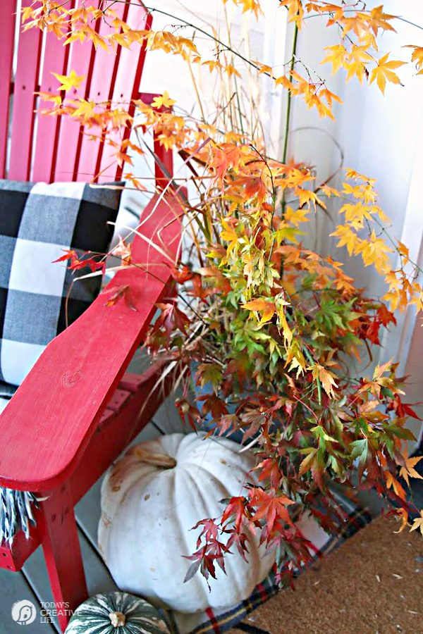 Fall porch with red wooden chair and bucket of tree brand with fall leaves