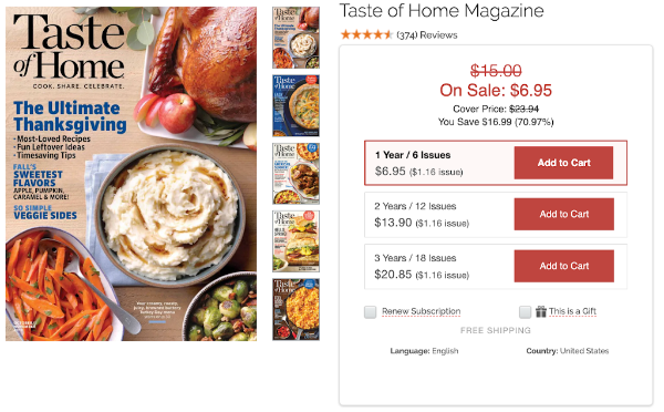 Taste of Home Magazine Subscription form