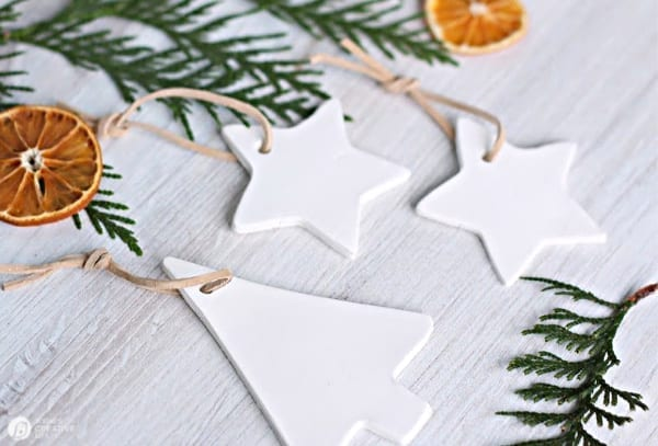 White Clay Christmas Ornaments