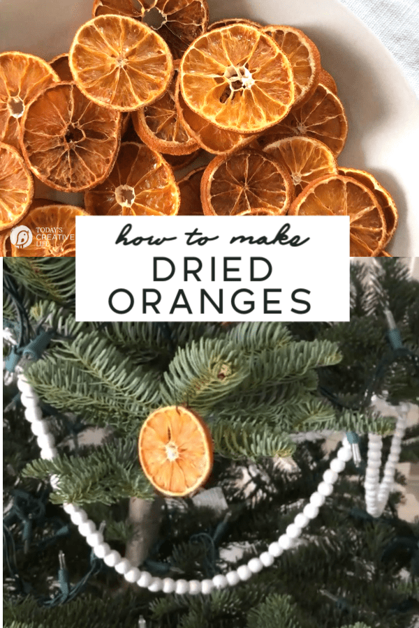 Photo collage of dried oranges and Orange ornament on a tree.