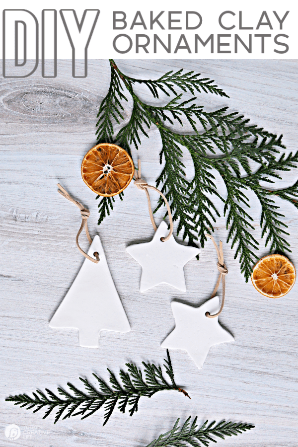 Tree and star shaped white clay Christmas ornaments.