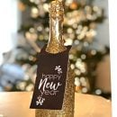 Glittered champagne bottle