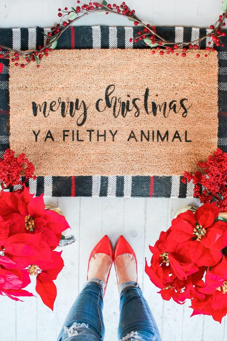 Merry Christmas Ya Filthy Animal: DIY Holiday Doormat Tutorial