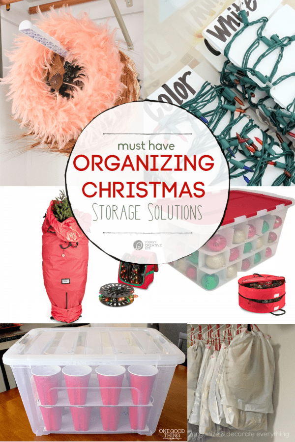 Photo Collage of Christmas storage solutions