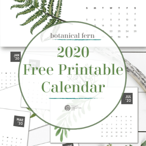 Photo collage with fern design calendar