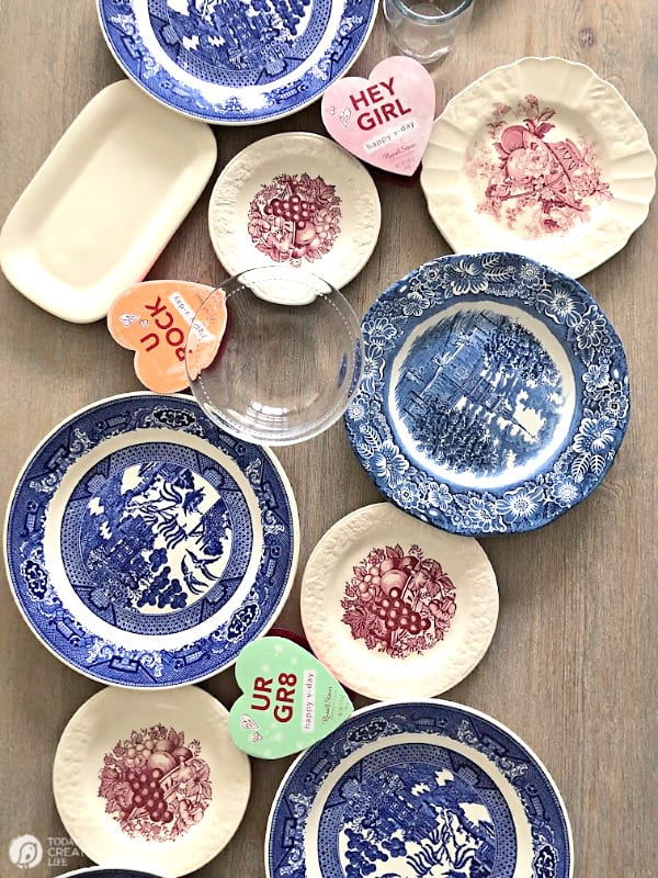 Assortment of vintage china plates.
