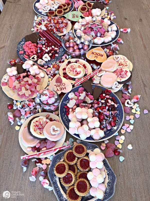 Valentine Candy spread on a table