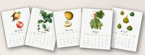 botancal calendar pages