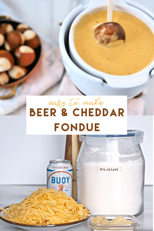 photo collage of cheese fondue