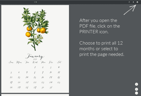 Instruction photo on how to print calendar