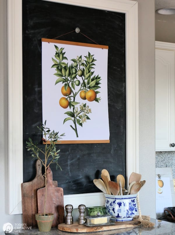 Chalk board with botanical poster