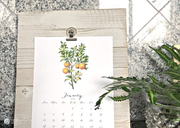 Clipboard with botanical calendar