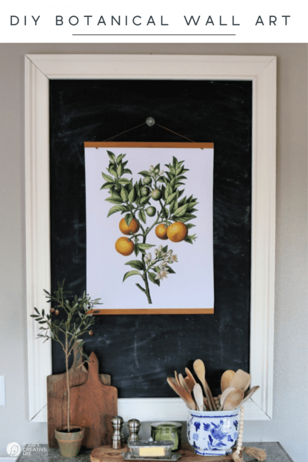 Botanical Poster on chalkboard in kitchen for home decor