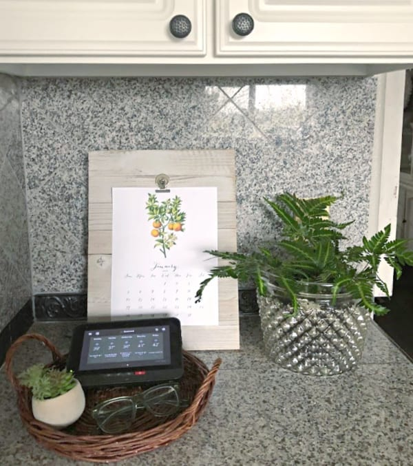 Kitchen counter with clipboard with calendar