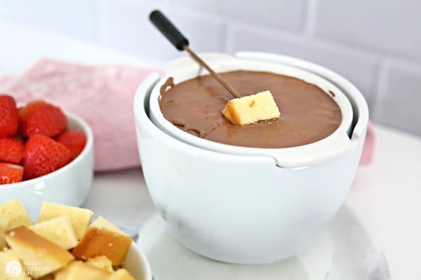 white bowl with chocolate fondue