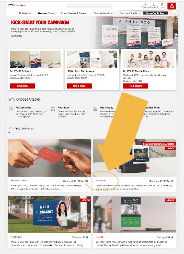 Image of Staples website