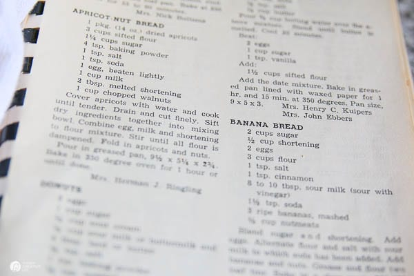 Recipes typed in old recipe book