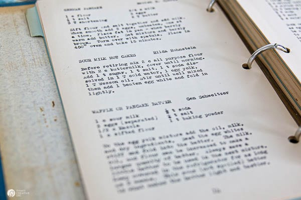 Recipe book with typed recipes
