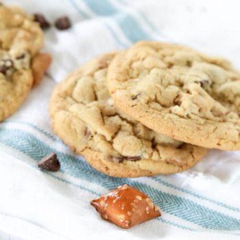 3 cookies on a cloth napkin