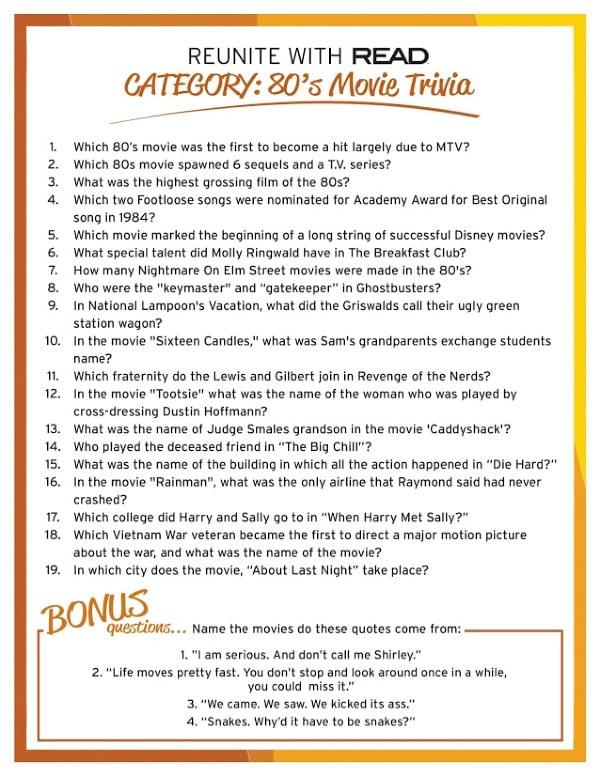 Trivia Questions handout