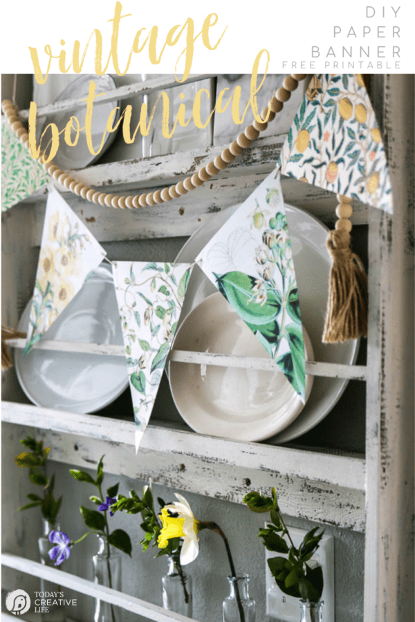 Plate rack with vintage paper banner