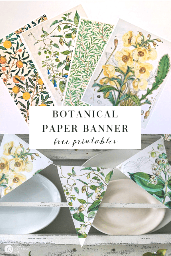 Photo Collage of botanical papers and banner