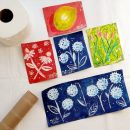 painted art squares from toilet paper rolls