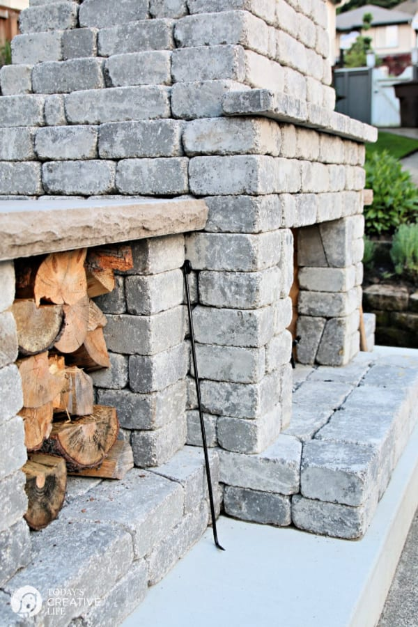 Side view stone fireplace