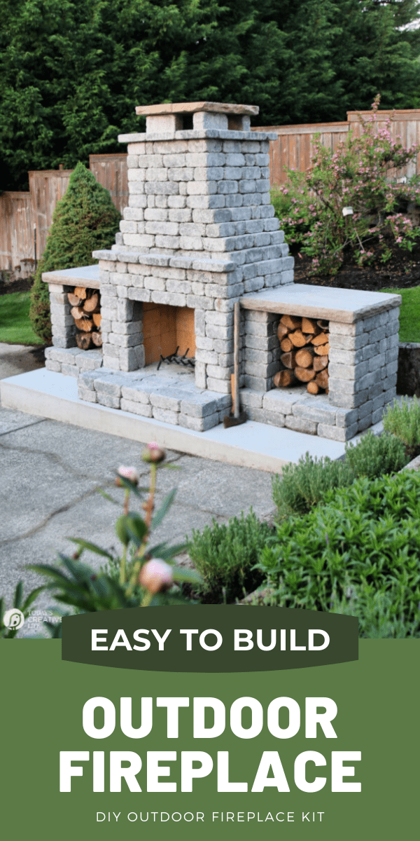 Grey stone outdoor fireplace