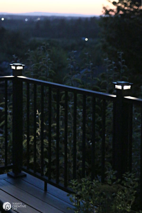 Deck Railing Lights glowing at night
