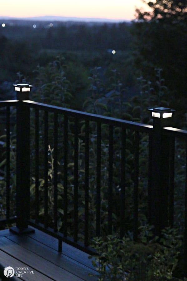 Deck Railing Lights glowing at night