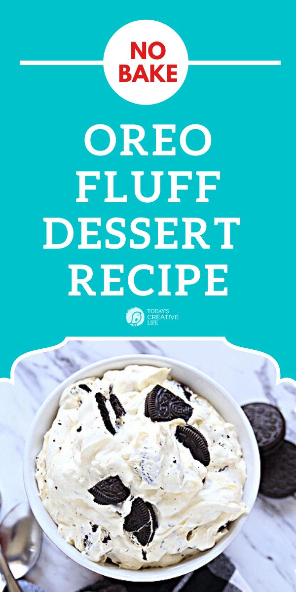 Dessert bowl with oreo fluff dessert.