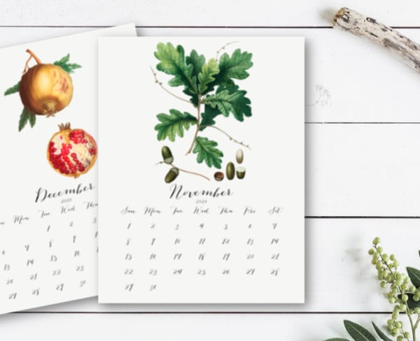 Calendar pages with flowers