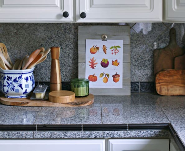 Kitchen decorated for Fall