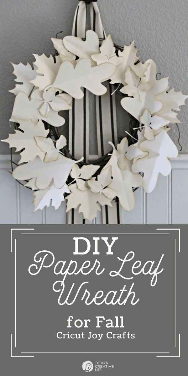 photo collage of a DIY paper leaf wreath