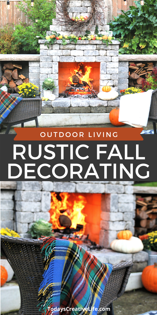 photo collage outdoor fireplace decorated for fall