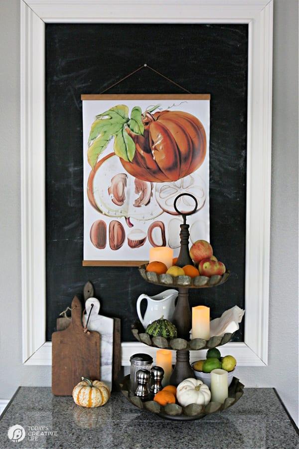 Pumpkin Fall Wall Art in a decorated Kitchen