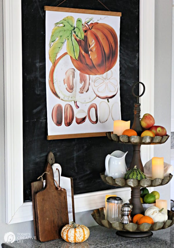 Kitchen Counter and chalk board decorated for fall with botanical printable.