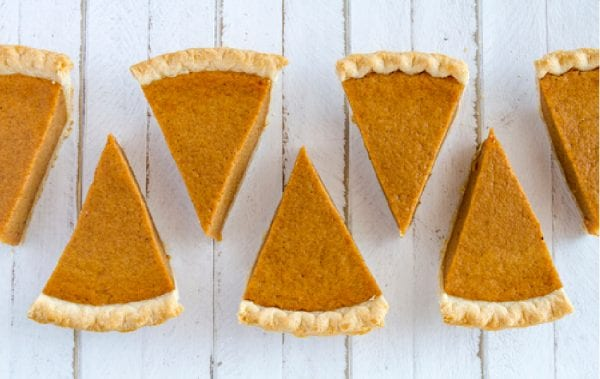 Slices of Pumpkin Pie in a row
