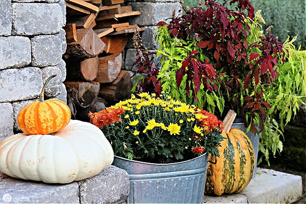 Stacked pumpkins on an outdoor fireplace hearth.