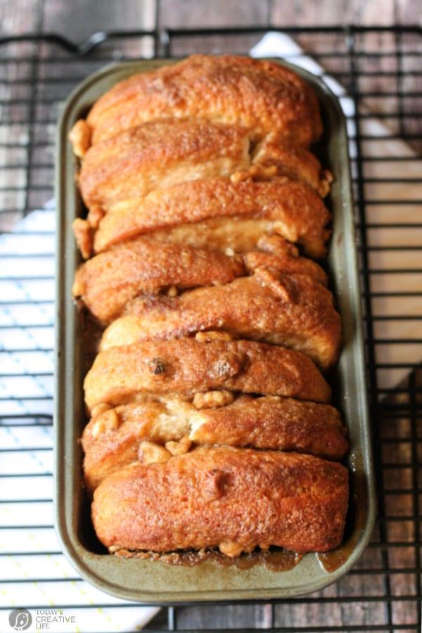 Loaf of Pull apart cinnamon pecan bread.