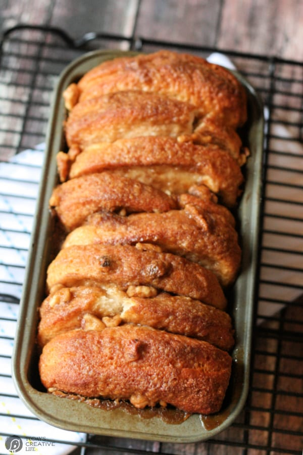 golden brown loaf of pull apart bread.
