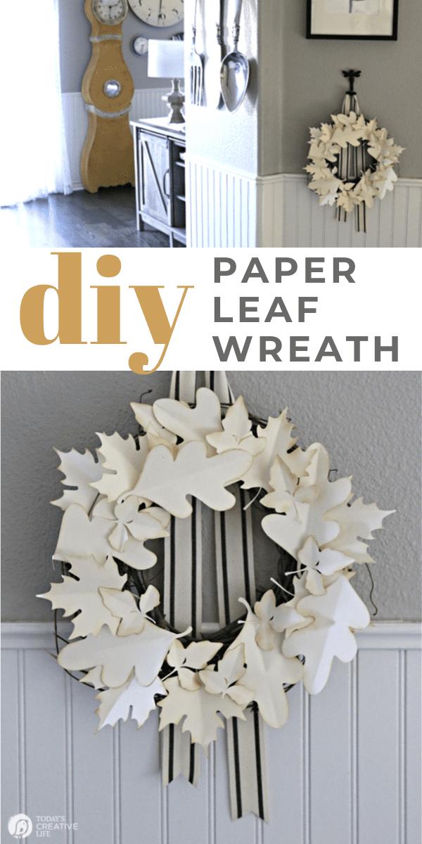 Photo Collage of diy paper leaf wreath