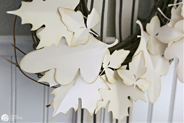 Up close look at paper leaves made with a Cricut Joy